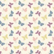 Lewis & Irene Bunny Garden - 4432 - Butterflies on White - A149.1 - Cotton Fabric